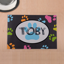 Personalised Colourful Paw Print And Grey Pet Meal Mat