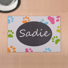 Personalised Colourful Paw Print And White Pet Meal Mat