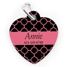 Custom Printed Black & Carol Clover, Heart Shape Dog Or Cat Tag