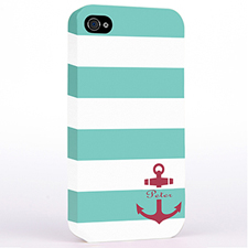 Personalised Aqua Stripe Red Anchor Monogrammed Hard Case Cover
