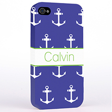 Personalised Navy And White Cute Anchors Hard Case Cover