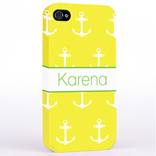 Personalised Yellow And White Cute Anchors Hard Case Cover