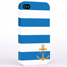 Personalised Blue Stripe Orange Anchor Monogrammed Hard Case Cover
