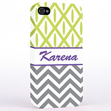 Personalised Grey Chevron Lime Ikat Hard Case Cover