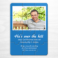 Personalised Blue Photo Birthday Puzzle Invite
