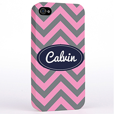 Personalised Grey Pink Chevron Hard Case Cover