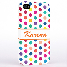 Personalised Orange Colourful Polka Dots Hard Case Cover