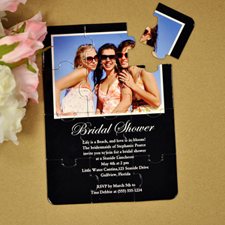 Personalised Black Bridal Shower Puzzle Invite