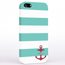 Personalised Aqua And Red Anchor Monogrammed iPhone Case