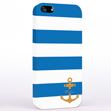 Personalised Blue And Orange Anchor Monogrammed iPhone Case