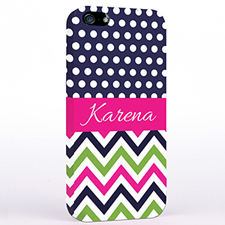 Personalised Colourful Chevron Black & White Polka Dots iPhone Case