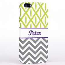 Personalised Grey Chevron Lime Ikat iPhone Case
