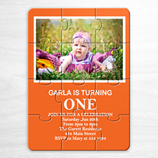 Personalised Orange Photo Birthday Puzzle Invite