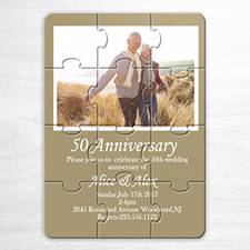 Personalised Gold Wedding Photo Puzzle Invite