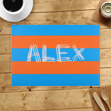 Personalised Blue Orange Stripes Placemats