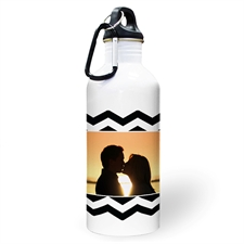 Personalised Photo Black Chevron Water Bottle