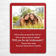 Personalised Red Wedding Photo Puzzle Invite