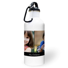 Personalised Photo Black Two Collage Textbox Water Bottle