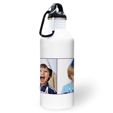 Personalised Photo Purple Two Collage Two Textbox Water Bottle