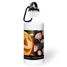 Personalised Photo Black Three Collage Textbox Water Bottle