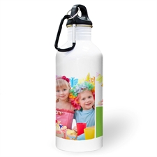 Personalised Photo Two Collage With Lime Textbox Water Bottle