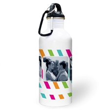 Personalised Photo Colourful Stripes Three Collage Textbox Water Bottle