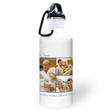 Personalised Photo Navy Three Collage Two Textbox Water Bottle