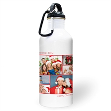 Personalised Photo Red Six Collage Two Textbox Water Bottle