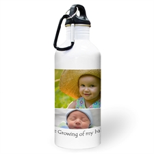 Personalised Photo White Four Collage Textbox Water Bottle