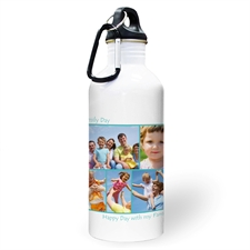 Personalised Photo Aqua Five Collage Two Textbox Water Bottle