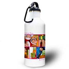 Personalised Photo Hot Pink Five Collage Two Textbox Water Bottle