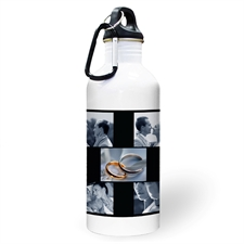 Personalised Photo Black Five Collage Water Bottle