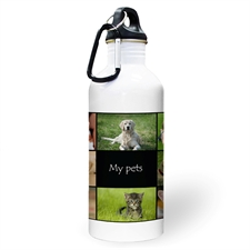 Personalised Photo Black Eight Collage Water Bottle