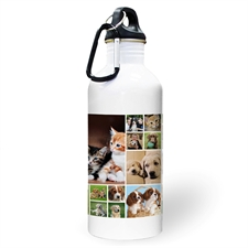 Personalised Photo White Eighteen Collage Water Bottle
