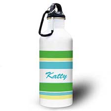 Personalised Photo Green Yellow Stripe Water Bottle