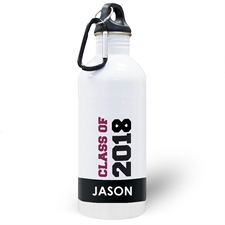 Personalised Photo Black Class Of 2018 Water Bottle