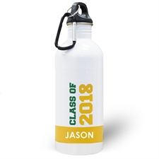 Personalised Photo Yellow Class Of 2018 Water Bottle
