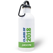 Personalised Photo Green Class Of 2018 Water Bottle