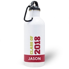 Personalised Photo Red Class Of 2018 Water Bottle
