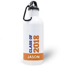 Personalised Photo Orange Class Of 2018 Water Bottle