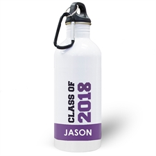 Personalised Photo Purple Class Of 2018 Water Bottle