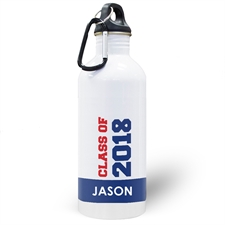 Personalised Photo Blue Class Of 2018 Water Bottle