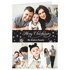 Black 4 Collage Personalised Christmas Greeting Card