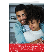 Simple Snow Red Personalised Christmas Greeting Card