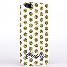 Personalised Gold Glitter Polka Dot iPhone Case