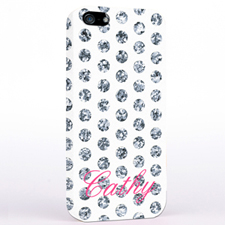 Personalised Silver Glitter Polka Dot iPhone Case