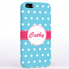 Personalised Aqua Polka Dot iPhone Case