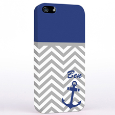 Personalised Blue Anchor Grey Chevron iPhone Case