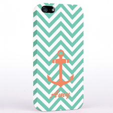 Personalised Orange Anchor Aqua Chevron iPhone Case