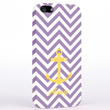 Personalised Yellow Anchor Lavender Chevron iPhone Case